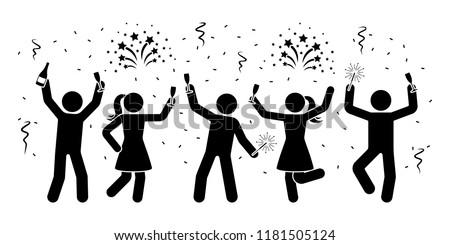 Happy stick figures celebrating New Year night icon. Men and women firework, serpentine, sparkler pictogram