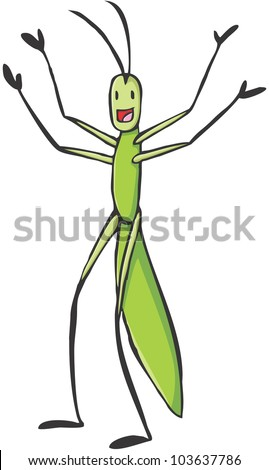 Happy Stick Insect Cartoon