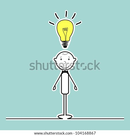 happy stick man with idea