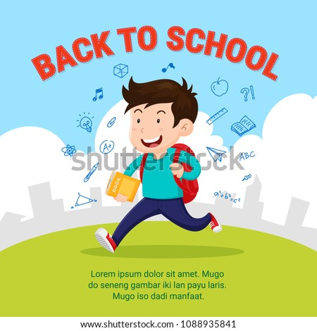 Happy student go to school. Back to school flat style illustration with school activity doodle.