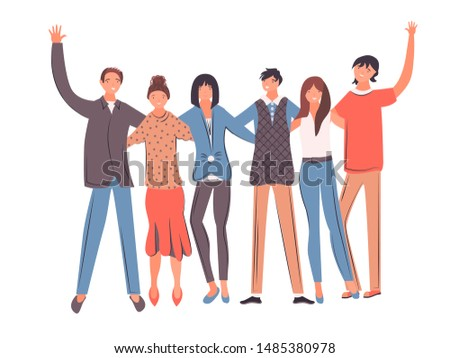 Happy students, school teenagers friends stand together and friendship. Group of smiling teenage boys and girls. Friends teenage boys and girls isolated on white background