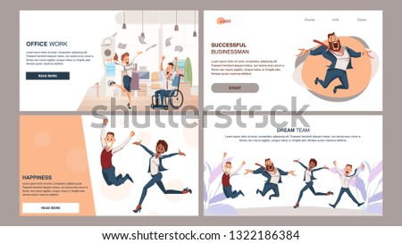 Happy Successful Coworking Business Team Jump Up. Coworker Celebrate Success Corporate Victory. Thrilled Male and Female Office Worker Have Fun. Employee Teamwork Set. Cartoon Flat Vector Illustration