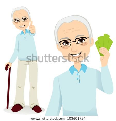 Happy successful senior man holding money fan and making thumbs up sign