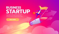 Happy successful Start up businessman holding goal flag standing on rocket ship flying through starry sky. business startup concept.