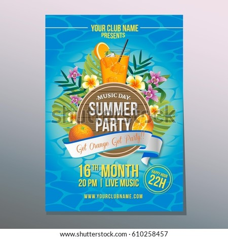 happy summer party with orange