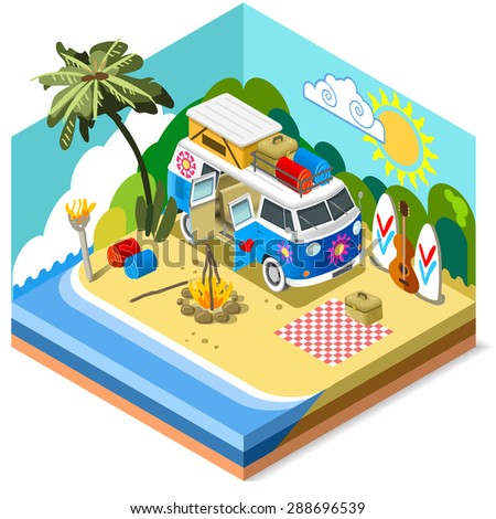 happy summertime isometric