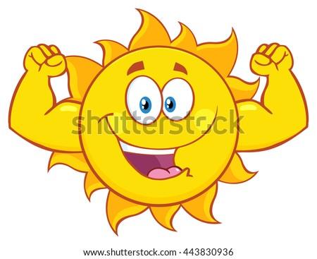 happy sun cartoon mascot