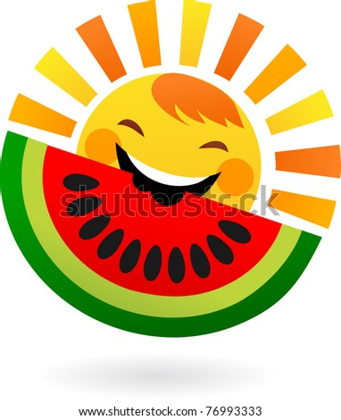 happy sun eating slice of watermelon - stock vector