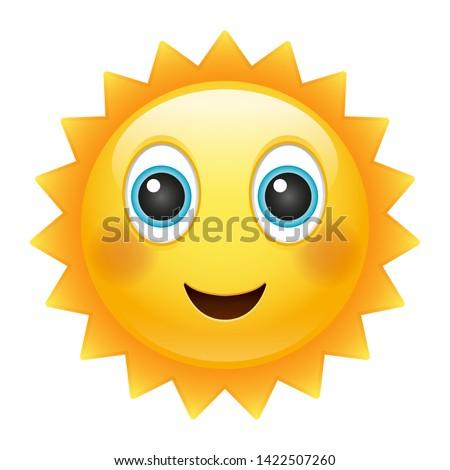 Happy Sun Emoji. Summer Vacations. Illustration Face Vector Design Art.