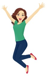 Happy surprised woman in jeans jumping isolated