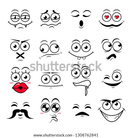 Happy symbol emotions icons vector illustration #1308762841