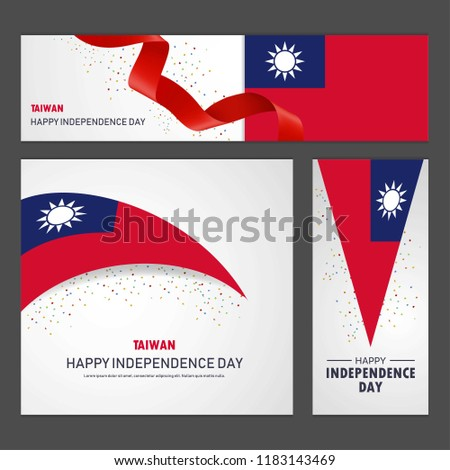Happy Taiwan independence day Banner and Background Set