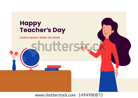 Happy teacher's day background poster template. Long hair woman teacher with explain gesture hand vector illustration in front of the class room scene. Simple flat color graphic design