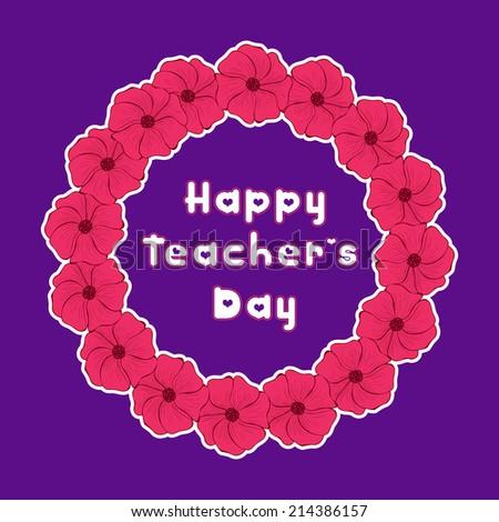 Happy Teacher\'s Day Floral Frame design