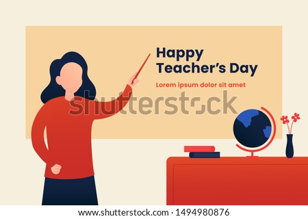 Happy Teacher's day poster background template design. Woman teacher with explain gesture in front of the class room vector illustration graphic design.