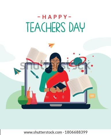 Happy Teacher's day text, Indian women teacher teaching online with educational vector background