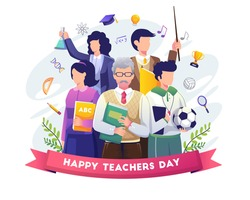 Happy Teacher's Day with A group of teachers from various fields gathers in teacher's day. Flat vector illustration