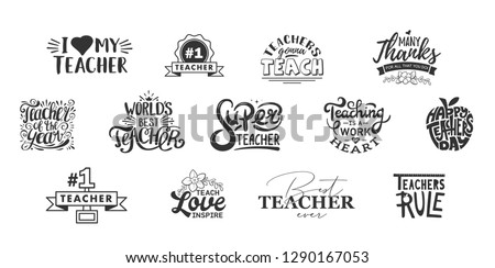 Happy teachers day lettering and typography quote. World best teacher badges for gift, design holiday cards and print. Vector school gratitude labels. Thank you photo overlays illustration