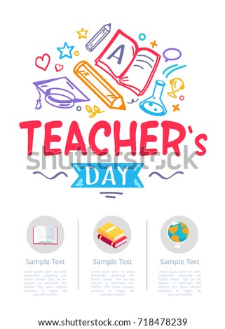 Happy teachers day poster with icons of globe, two textbooks and stationery equipment in round buttons with place for text vector illustrations on white
