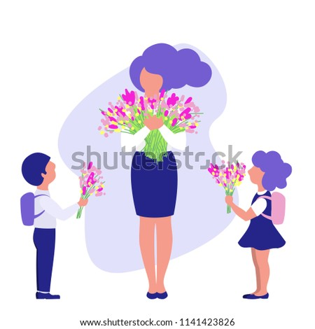 Happy teachers day.Students and teacher with flowers, flat design