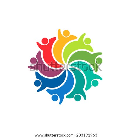 Happy Team group people 9 image. Concept of emotions, exciting, playful. Vector icon