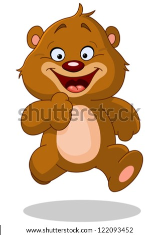 Happy teddy bear running