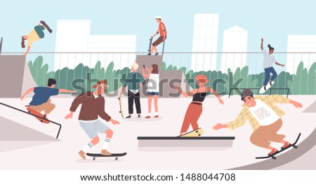 Happy teenage boys and girls or skateboarders riding skateboards at skatepark. Young men and women skateboarding and performing tricks on funboxes at skate park. Flat cartoon vector illustration.