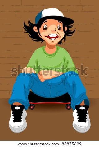happy teenager sitting on a skateboard leaning against wall
