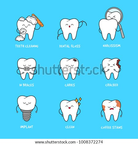 Happy teeth set. Cute tooth characters. Dental personage vector illustration. Dental concept for your design. Illustration for children dentistry. Oral hygiene, teeth cleaning. Teeth poster.