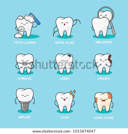 Happy teeth set. Cute tooth characters. Dental personage vector illustration. Dental concept for your design. Illustration for children dentistry. Oral hygiene, teeth cleaning. Teeth sticker.