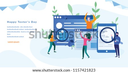 Happy Tester's Day, Computer virus concept, testing, SEO, social marketing, Game Tester Conceptual Design, Bug and virus in the programming code, Concept for web page, banner, social media, vector.