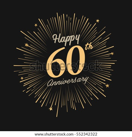 Happy 60th Anniversary Celebration Logo With Firework And Dark Background