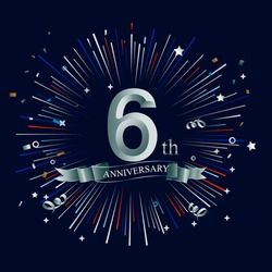 Happy 6th Anniversary. with fireworks and star on dark background.Greeting card, banner, poster
