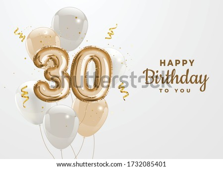 Happy 30th birthday gold foil balloon greeting background. 30 anniversary logo template- 30th celebrating with confetti. Vector stock. Stock photo ©