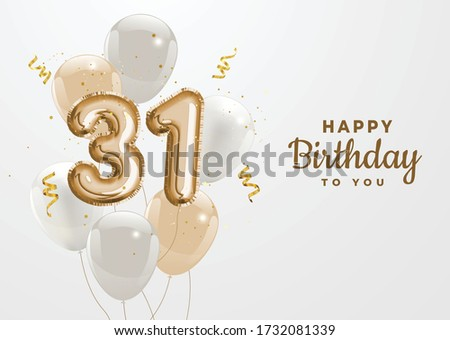 Happy 31th birthday gold foil balloon greeting background. 31 years anniversary logo template- 31th celebrating with confetti. Vector stock. Zdjęcia stock ©