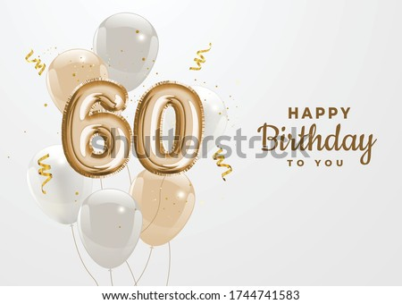 Happy 60th birthday gold foil balloon greeting background. 60 years anniversary logo template- 60th celebrating with confetti. Vector stock. Zdjęcia stock ©