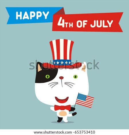 happy 4th of july  funny kitten