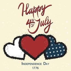 Happy 4th of July greeting card with three hearts in United States national flag colors. Vector illustration