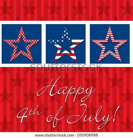 Happy 4th of July patterned star card in vector format.