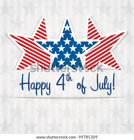Happy 4th of July sticker cards in vector format.