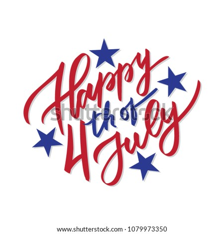 Happy 4th of July - vector typography, calligraphy, lettering, hand-writing. Composition in two color with stars. For  banner, label, tag, poster, wallpaper, flyer, invitation, cutout template.
