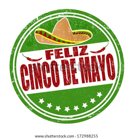 Happy 5th of May in spanish language Feliz Cinco de Mayo grunge rubber stamp on white vector illustration