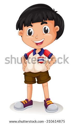 happy thai boy standing