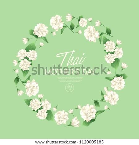Happy Thai Mother's day card template with White Jasmine : Vector Illustration #1120005185