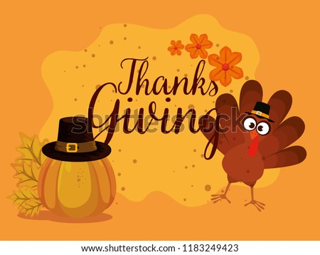 happy thanks giving card with turkey