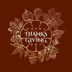 Happy Thanksgining Day Inverted Pumpkin Shape Logo with Maple Hazel Oak Sycamore and Other Fall Leaves Greetings Template - Gold on Brown Background - Vector Hand Drawn Design