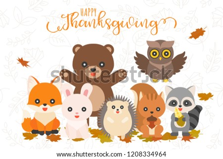 Happy thanksgiving and cute animal character on leaves pattern for use as banner or poster,flat design