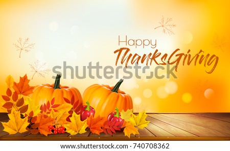 Happy Thanksgiving background with autumn vegetables and colorful leaves. Vector.