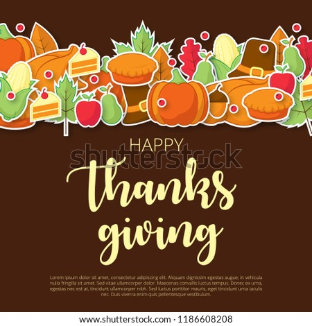Happy thanksgiving background with flat icon. Can be used for poster, banner, flyer, invitation, website or greeting card. Vector illustration #1186608208