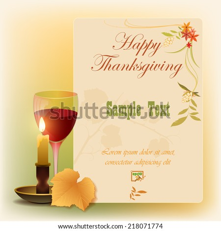 Happy Thanksgiving background with vine leaf and floral arrangement, can be use as poster, for greeting or holiday luxury postcard, decorative page cover .